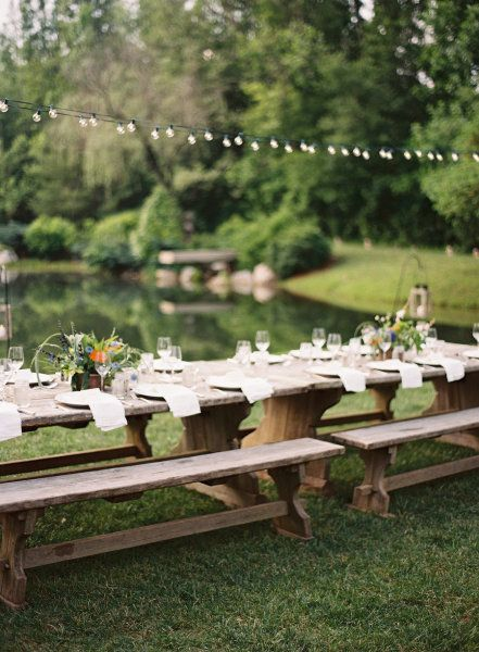 reception table by water