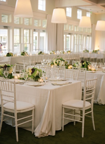 reception tables indoors white
