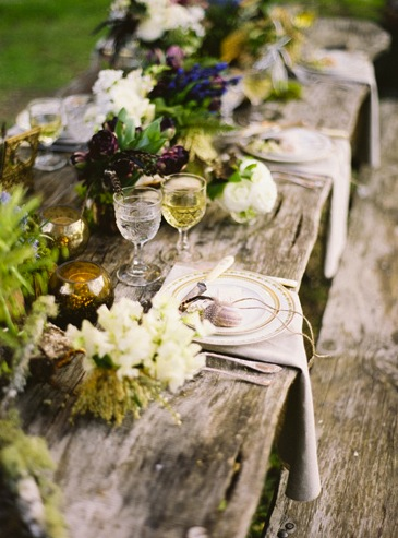 reclaimed wood banquet table flowers