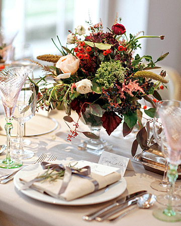 red autumn reception tables