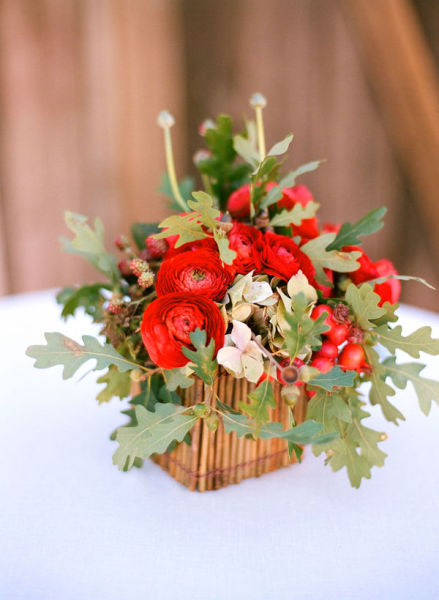 red brown box wedding centerpiece