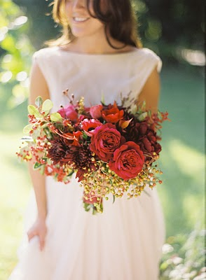 red brown bridal bouquet