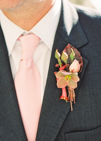 red fall boutonniere