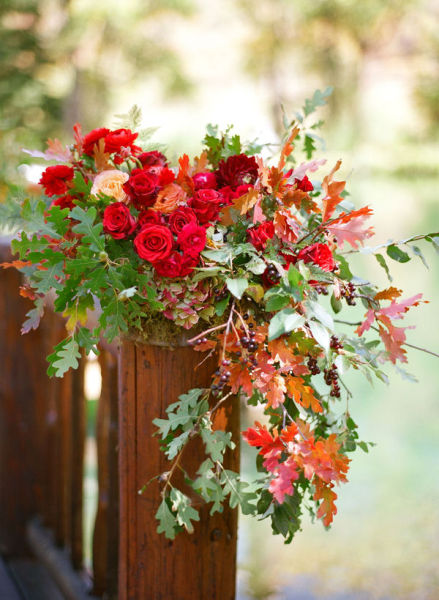 red fall leaf wedding centerpiece