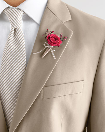 Red Garden Rose Boutonniere