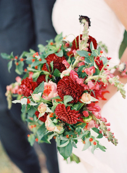 Red Green Berry Holiday Bouquet