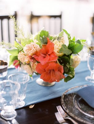 red peach wedding centerpiece