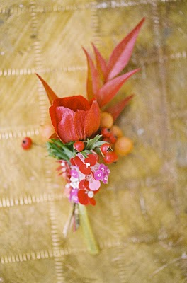 red pink boutonniere