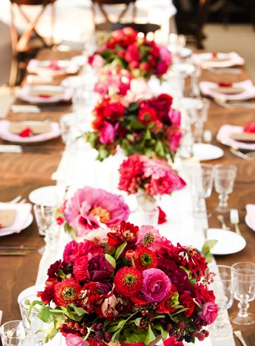red pink flower centerpiece