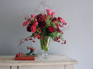 red pink romantic wedding centerpiece