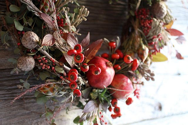 red pomegranate fall wreath