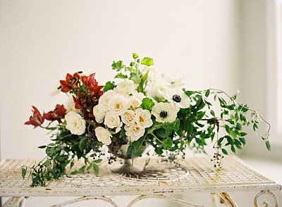 red-white-flower-greenery-wedding-centerpiece - Once Wed