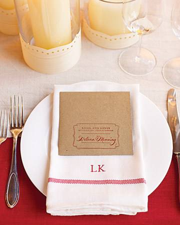 red white invitation setting