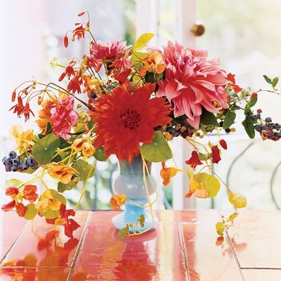 red yellow pink wedding centerpiece