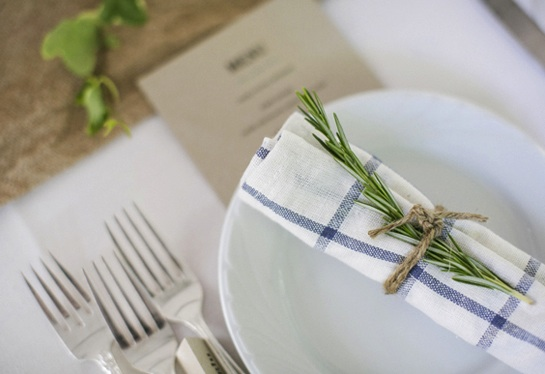 rosemary blue white napkins