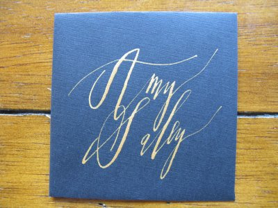 royal blue silver calligraphy
