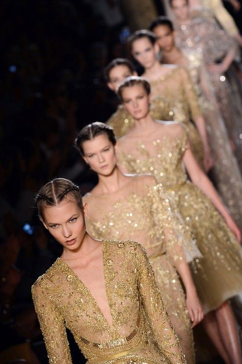 runway gold gowns