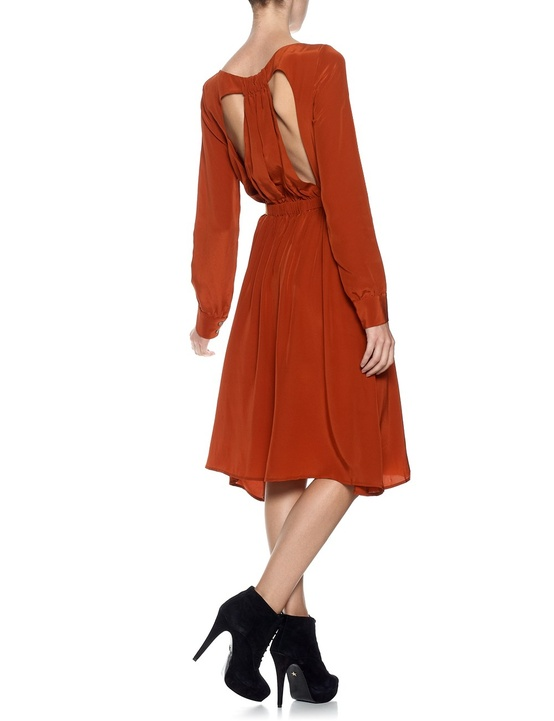 rust silk wing back dress