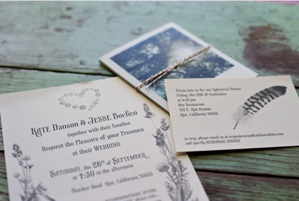 rustic ojai garden wedding paper goods invitation