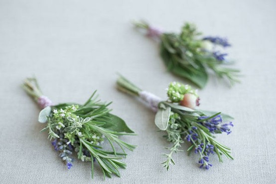 rustic chic wedding accents herbs