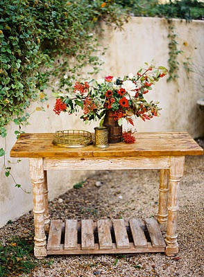 rustic red flower centerpiece