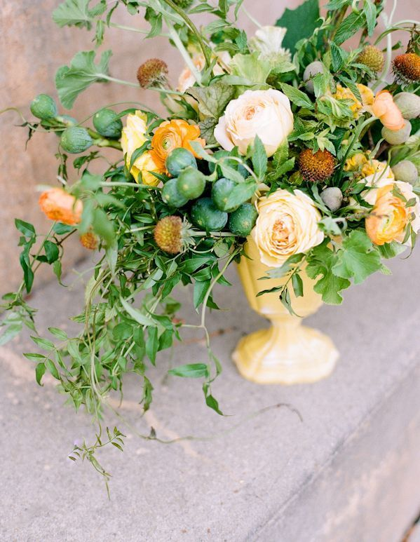 Rustic Wedding Flowers Ideas Yellow Orange Centerpieces Once Wed