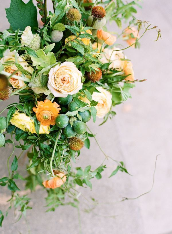 Rustic Wedding Ideas Flowers Centerpieces Orange Yellow Green Once Wed