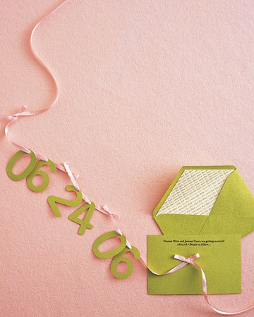 save the date pink green