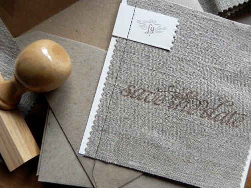 shabby chic linen save the dates