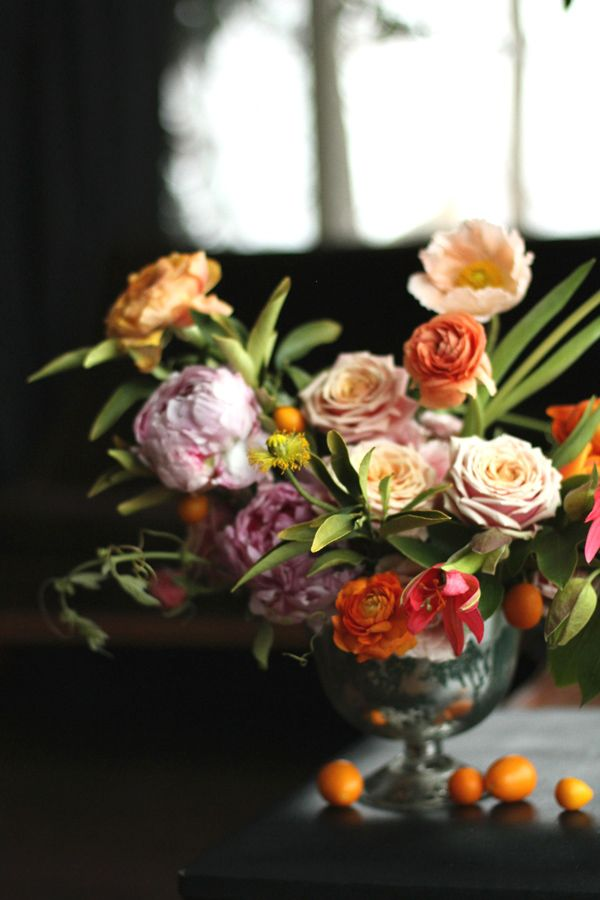 sherbert spring wedding flowers