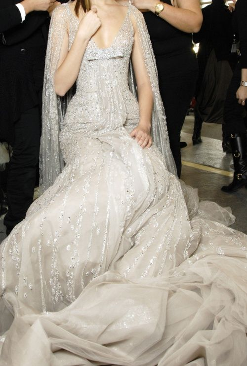 shimmery gray gown