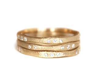 signature stacked gold ring
