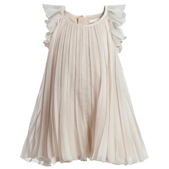 silk chiffon pleated dress