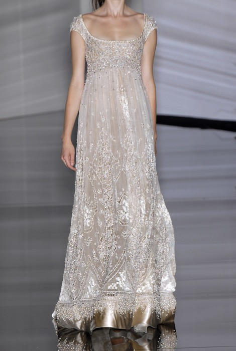 silver beaded scoopy neck gown