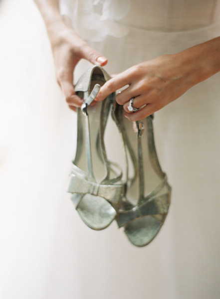 silver blue bow shoes