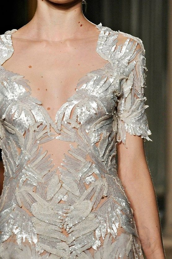 silver leaf adorned dress