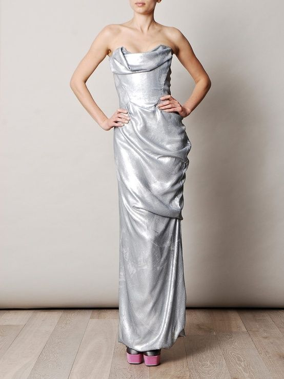 silver metallic gown