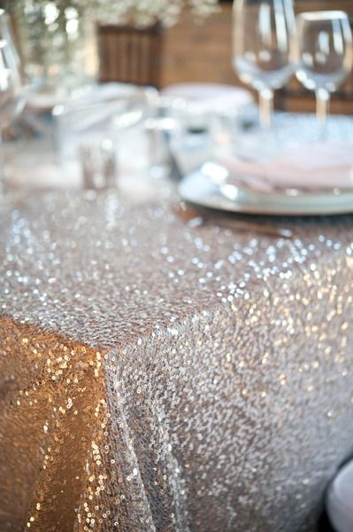silver sequined table linen