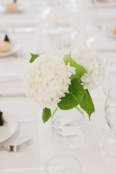 simple hydrangea wedding centerpiece