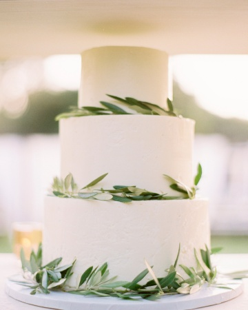 simple olive branch leaves wedding cake