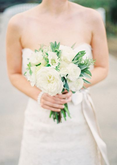 Simple White Peony Bridal Bouquet Once Wed