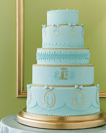 sky blue gold wedding cake