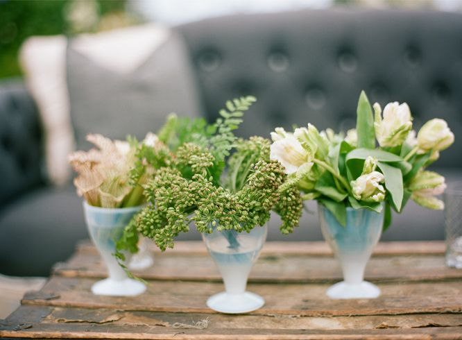 Small green flower wedding centerpiece once wed