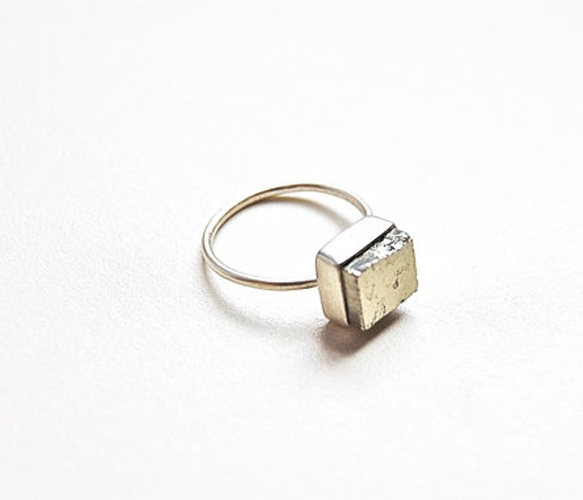 small pyrite cube ring