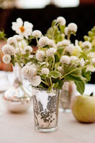 small white poppy wedding centerpiece