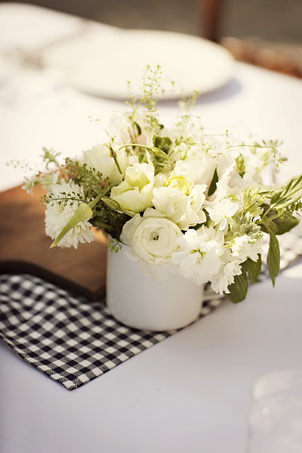 Small white wedding reception centerpieces once wed