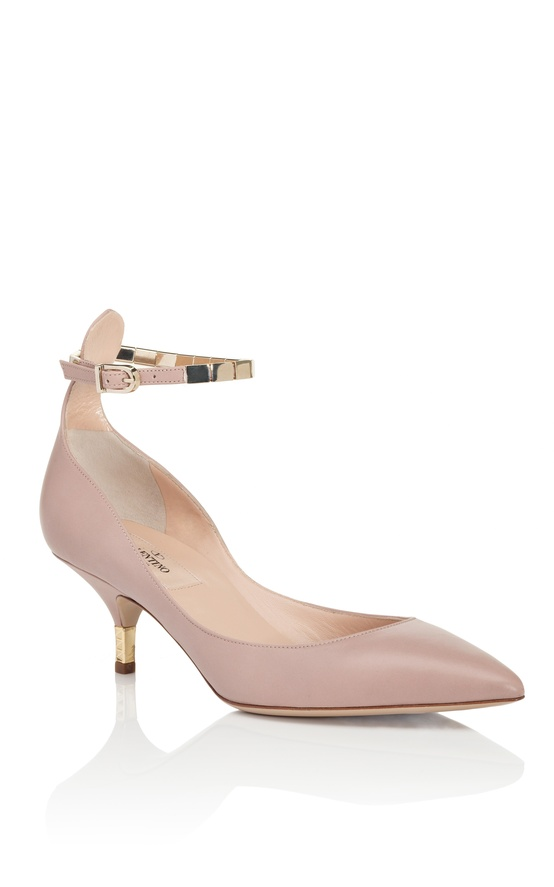 soft noisette ankle strap kitten heel