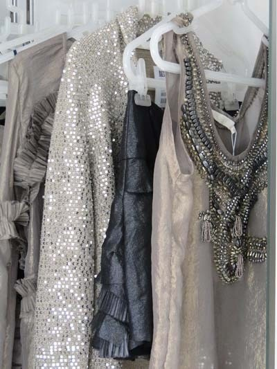 sparkley gowns hanging
