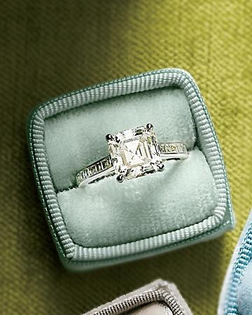 square cut engagement ring modern