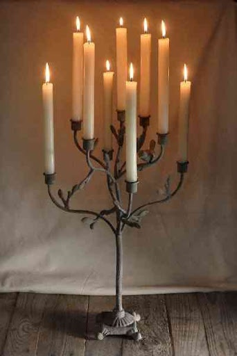 stone candleabra rustic
